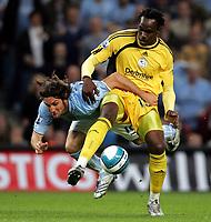 Photo: Paul Thomas.<br /> Manchester City v Derby County. The FA Barclays Premiership. 15/08/2007.<br /> <br /> Rolando Bianchi (L) of City battles with Claude Davis.