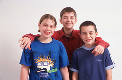 Group of children smiling,