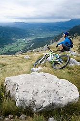mountain biker having a rest, Vipava valley, Istria, Nanos, Slovenia