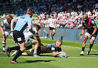 Rugby Union -2020/2021 Gallagher Premiership - Round 22 -<br />Harlequins vs Newcastle Falcons - The Stoop<br /><br />Tyrone Green battles through and puts down a Try for Harlequins