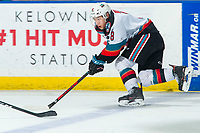 KELOWNA, BC - MARCH 7: Trevor Wong #8 of the Kelowna Rockets skates with the puck during third period against the Lethbridge Hurricanes at Prospera Place on March 7, 2020 in Kelowna, Canada. (Photo by Marissa Baecker/Shoot the Breeze)