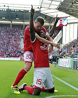 Fotball<br /> Tyskland<br /> Foto: Witters/Digitalsport<br /> NORWAY ONLY<br /> <br /> 3:0 Jubel v.l. Fabian Frei, Torschuetze Jhon Cordoba (Mainz) <br /> Mainz, 11.09.2016, Fussball Bundesliga, 1. FSV Mainz 05 - TSG 1899 Hoffenheim