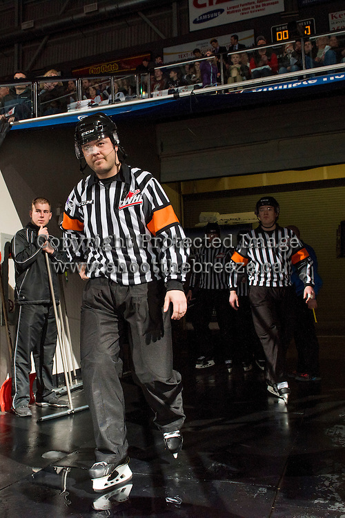 KELOWNA, CANADA - MARCH 26: Chris Crich,  referee, walks to the ice between Kelowna Rockets and Kamloops Blazers on March 26, 2016 at Prospera Place in Kelowna, British Columbia, Canada.  (Photo by Marissa Baecker/Shoot the Breeze)  *** Local Caption *** Chris Crich;