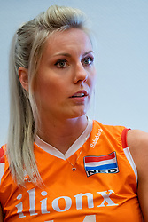 14-05-2019 NED: Press moment national volleyball team Women, Arnhem<br /> Jamie Morrison, the national coach of the Dutch women team, gives an overview of the group matches of the VNL, the OKT, Worldcup and the European Championship played in Hungary / Laura Dijkema #14 of Netherlands
