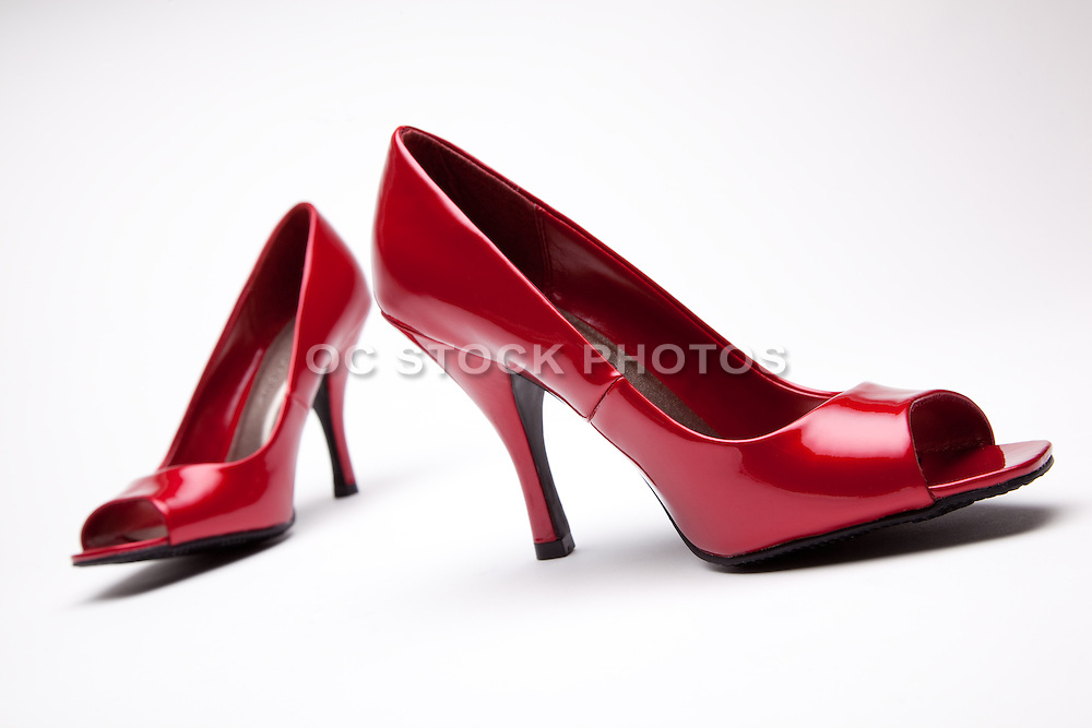 Open Toe Red High Heel Shoes