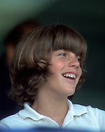 .John Kennedy Jr. at the RFK Celebrity Tennis Tournament at Forest Hill in August 1973....Photo by Dennis Brack  B 10