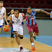 Anadolu Efes's Dontaye Draper (L) and Trabzonspor's Dwight Hardy (R) during their friendly match Anadolu Efes between Trabzonspor at Abdi Ipekci Arena in Istanbul Turkey on Saturday 16 May 2015. Photo by Aykut AKICI/TURKPIX
