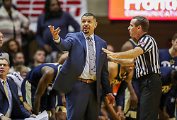 Dec 8, 2018; Morgantown, WV, USA; Pittsburgh Panthers head coach Jeff Capel argues a call during the first half against the West Virginia Mountaineers at WVU Coliseum. Mandatory Credit: Ben Queen-USA TODAY Sports