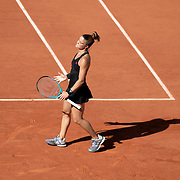 PARIS, FRANCE June 10. Maria Sakkari of Greece reacts against Barbora Krejcikova of the Czech Republic on Court Philippe-Chatrier during the semi finals of the Women's singles competition at the 2021 French Open Tennis Tournament at Roland Garros on June 10th 2021 in Paris, France. (Photo by Tim Clayton/Corbis via Getty Images)