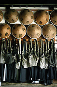 """LIVING ZEN - HOSHINJI MONASTERY, OBAMA-JAPAN..Monk's robes, bags and hats, waiting for them to wear them when they go for """"takuhatsu"""". .That is how is called the visit they make to the houses of their community, telling prayers and collecting offerings for the monastery."""