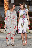 Former Queen Sofia, Queen Letizia of Spain attend a official reception for Authorities at the Almudaina Palace on August 7, 2016 in Palma de Mallorca, Spain