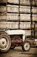 Crates used for the collection of apples are packed away for the season at Mt. Pleasant farm in Gloucester County, New Jersey.