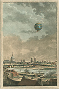 Montgolfier brothers' hot air hot air balloon over Paris, France, 1783. Engraving by Nicolas de Launay, French engraver.  Flying Aeronautics  Aviation