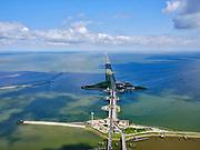 Nederland, Noord-Holland, Hollands Kroon; 07-05-2021; Den Oever, zicht op de Afsluitdijk en Stevinsluizen (spuisluizen). Dijk en sluizen worden  gerenoveerd / gereconstrueerd.<br /> Den Oever, view of the Afsluitdijk and Stevinsluizen (sluices). Dike and locks are being renovated / reconstructed.<br /> <br /> luchtfoto (toeslag op standaard tarieven);<br /> aerial photo (additional fee required)<br /> copyright © 2021 foto/photo Siebe Swart