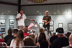 Custom builder Nick Pensabene of Edgewater, FL speaking about his Shovelhead on display at the Old Iron - Young Blood exhibition media and industry reception in the Motorcycles as Art gallery at the Buffalo Chip during the annual Sturgis Black Hills Motorcycle Rally. Sturgis, SD. USA. Sunday August 6, 2017. Photography ©2017 Michael Lichter.