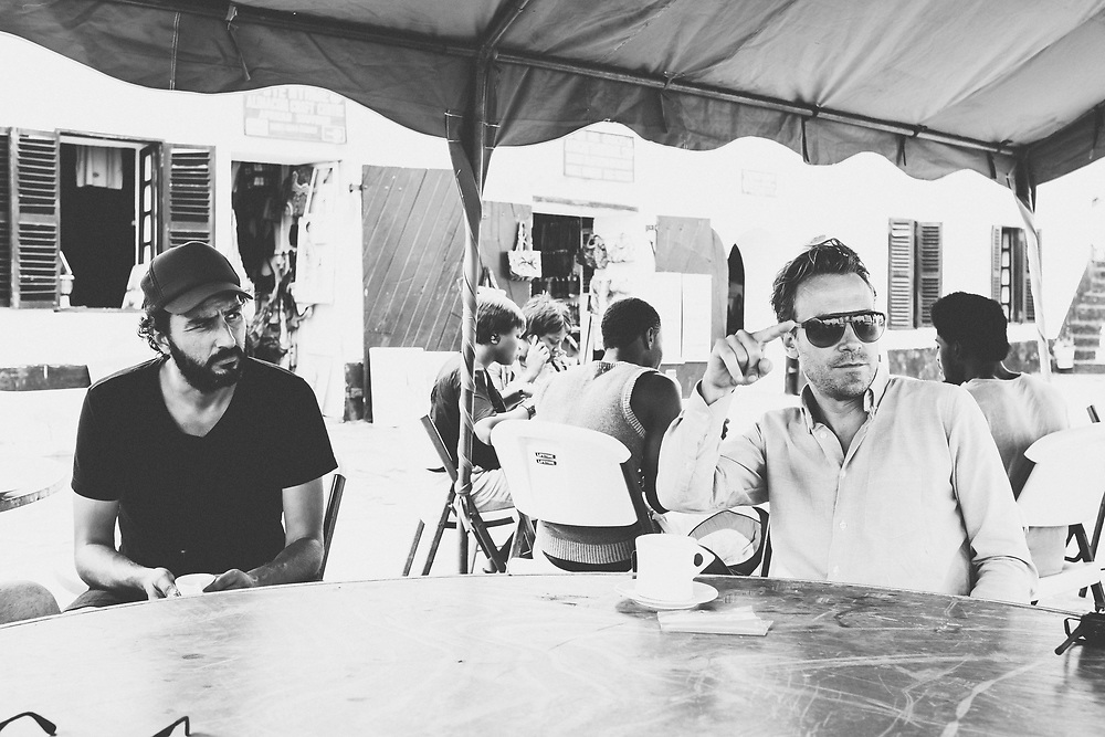 Director Daniel Dencik and cinematographer Martin Munch on the filmset of 'Gold Coast', Elmina, Ghana. Photo by HEIN Photography