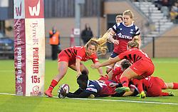 Simi Pam of Bristol Bears Women scores a try - Mandatory by-line: Paul Knight/JMP - 03/11/2018 - RUGBY - Shaftesbury Park - Bristol, England - Bristol Bears Women v Saracens Women - Tyrrells Premier 15s