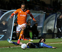 Blackpool's Nathan Delfouneso jumps over a challenge from Wycombe Wanderers' Paul Smyth<br /> <br /> Photographer Lee Parker/CameraSport<br /> <br /> The EFL Sky Bet League One - Wycombe Wanderers v Blackpool - Tuesday 28th January 2020 - Adams Park - Wycombe<br /> <br /> World Copyright © 2020 CameraSport. All rights reserved. 43 Linden Ave. Countesthorpe. Leicester. England. LE8 5PG - Tel: +44 (0) 116 277 4147 - admin@camerasport.com - www.camerasport.com