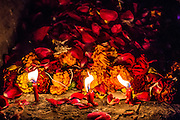 "8th January 2015, New Delhi, India.Three red candles burn in front to of a mound of flower petals left by believers hoping to get wishes granted by Djinns in the ruins of Feroz Shah Kotla in New Delhi, India on the 8th January 2015<br /> <br /> PHOTOGRAPH BY AND COPYRIGHT OF SIMON DE TREY-WHITE a photographer in delhi<br /> + 91 98103 99809. Email: simon@simondetreywhite.com<br /> <br /> People have been coming to Firoz Shah Kotla to leave written notes and offerings for Djinns in the hopes of getting wishes granted since the late 1970's. Jinn, jann or djinn are supernatural creatures in Islamic mythology as well as pre-Islamic Arabian mythology. They are mentioned frequently in the Quran  and other Islamic texts and inhabit an unseen world called Djinnestan. In Islamic theology jinn are said to be creatures with free will, made from smokeless fire by Allah as humans were made of clay, among other things. According to the Quran, jinn have free will, and Iblīs abused this freedom in front of Allah by refusing to bow to Adam when Allah ordered angels and jinn to do so. For disobeying Allah, Iblīs was expelled from Paradise and called ""Shayṭān"" (Satan).They are usually invisible to humans, but humans do appear clearly to jinn, as they can possess them. Like humans, jinn will also be judged on the Day of Judgment and will be sent to Paradise or Hell according to their deeds. Feroz Shah Tughlaq (r. 1351–88), the Sultan of Delhi, established the fortified city of Ferozabad in 1354, as the new capital of the Delhi Sultanate, and included in it the site of the present Feroz Shah Kotla. Kotla literally means fortress or citadel."