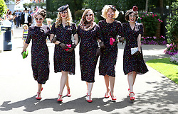The Tootsie Rollers pose for photographers during day four of Royal Ascot at Ascot Racecourse.