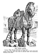 """THE WODEN HORSE. M. Laval. """"Well, we all know what's inside THAT."""" John Bull. """"Yes, I know it's full of armed men as usual - but that doesn't alter the fact that they've brought some very reasonable proposals with them."""""""