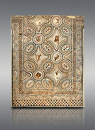 Pictures of a geometric Roman mosaics with animals & fruit, from the ancient Roman city of Thysdrus. 3rd century AD. El Djem Archaeological Museum, El Djem, Tunisia. .<br /> <br /> If you prefer to buy from our ALAMY PHOTO LIBRARY Collection visit : https://www.alamy.com/portfolio/paul-williams-funkystock/roman-mosaic.html . Type - El Djem - into the LOWER SEARCH WITHIN GALLERY box. Refine search by adding background colour, place, museum etc<br /> <br /> Visit our ROMAN MOSAIC PHOTO COLLECTIONS for more photos to download as wall art prints https://funkystock.photoshelter.com/gallery-collection/Roman-Mosaics-Art-Pictures-Images/C0000LcfNel7FpLI