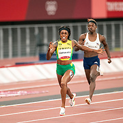 TOKYO, JAPAN August 3: Elaine Thompson-Herah of Jamaica winning the gold medal in the 200m Final for women at the Olympic Stadium at the Tokyo 2020 Summer Olympic Games on August 3rd, 2021 in Tokyo, Japan. (Photo by Tim Clayton/Corbis via Getty Images)