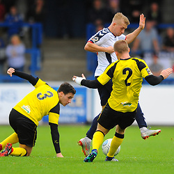TELFORD COPYRIGHT MIKE SHERIDAN 13/10/2018 - Darryl Knights of AFC Telford battles for the ball with Matt Challoner and Adam Blakeman during the Vanarama National League North fixture between AFC Telford United and Chorley