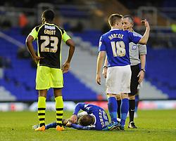Birmingham City's Brain Howard is down injured - Photo mandatory by-line: Dougie Allward/JMP - Tel: Mobile: 07966 386802 18/01/2014 - SPORT - FOOTBALL - St Andrew's Stadium - Birmingham - Birmingham City v Yeovil Town - Sky Bet Championship