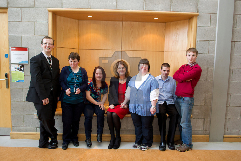 Current participants of the Integrated Education Programme, Cormack Hurrel, Rita McGuire, Laura Byrne, Denise Bryann, Gavin Smith and Neil McCrone with Minister Minister for Social Protection Joan Burton TD (centre),
