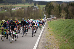 The peloton respond to the attack of Floortje Mackaaij (NED) of Team Sunweb the Liege-Bastogne-Liege Femmes - a 135.5 km road race, between  Bastogne and Ans on April 23, 2017, in Liege, Belgium.