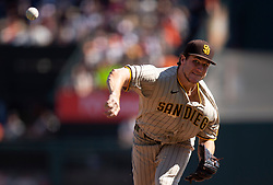 Oct 3, 2021; San Francisco, California, USA; San Diego Padres starting pitcher Reiss Knehr (73) delivers a pitch against the San Francisco Giants during the first inning at Oracle Park. Mandatory Credit: D. Ross Cameron-USA TODAY Sports