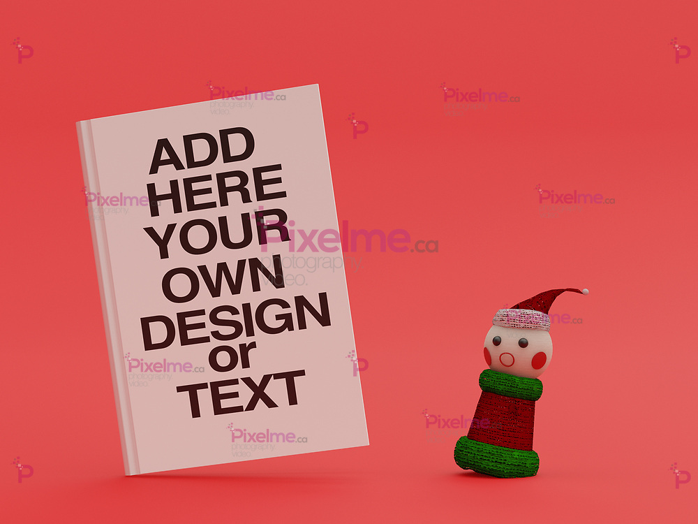 Christmas elf surprised by the reading of a book - copy space concept - 3d rendering
