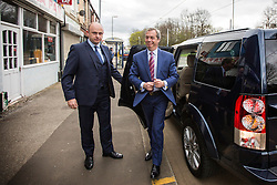 © Licensed to London News Pictures. 18/04/2016. Sheffield UK. Nigel Farage has been in sheffield today to support Steve Winstone's campaign in the Sheffield Brightside & Hillsborough by election. Photo credit: Andrew McCaren/LNP