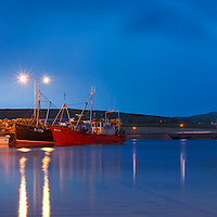 Portmagee Night Harbout Panorama with Bridge, County Kerry, Ireland / vl091