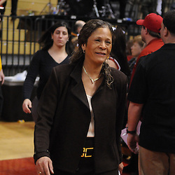 Feb 21, 2009; Piscataway, NJ, USA; Rutgers head coach C. Vivian Stringer smiles following her team's 55-42 victory over Providence at the Louis Brown Athletic Center.