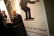 Making life-changing calls at a graduate expo fair where company job recruiters meet young people starting work