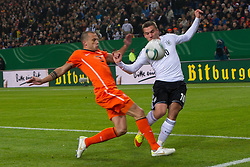 15.11.2011, Imtech Arena, Hamburg, GER, FSP, Deutschland (GER) vs Holland (NED), im Bild Lukas Podolski (GER #10 Koeln) vs Gregory van der Wiel (NED #02 AFC Ajax) // during the Match Gemany (GER) vs Netherland (NED) on 2011/11/15, Imtech Arena, Hamburg, Germany. EXPA Pictures © 2011, PhotoCredit: EXPA/ nph/ Kokenge..***** ATTENTION - OUT OF GER, CRO *****