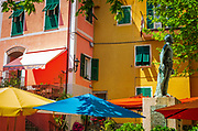 Colorful houses and the Monument to the Fallen, Corniglia, Cinque Terre, Liguria, Italy