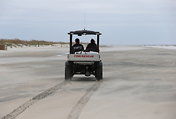 A fire rescue unit patrols the nearly deserted beach before Hurricane Irma arrives on Saturday, September 9, 2017, on Tybee Island, Ga. Photo by Curtis Compton/Atlanta Journal-Constitution/TNS/ABACAPRESS.COM