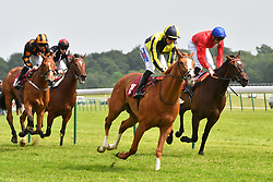 Crack On Crack On ridden by David Probert (second left) wins the Amix Silver Bowl Handicap Stakes (Class 2) at Haydock Park Racecourse.