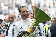 Juventus coach Massimiliano Allegri celebrates winning the 2018 Serie A title after the Italian championship Serie A football match between Juventus and Hellas Verona on May 19, 2018 at Allianz stadium in Turin, Italy - Photo Morgese - Rossini / ProSportsImages / DPPI
