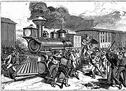 Riot by railroad workers at Martinsburg on the Baltimore-Ohio Railroad, when workers went on strike because the company cut their wages. Wood engraving 1877