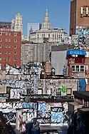 New York , Chinatown and municipal building elevated view / vue generale sur Chinatown et le bas de la ville,