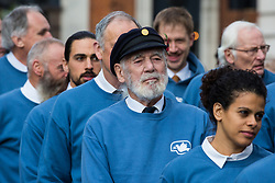 London, UK. 10 November, 2019. Jim Radford (c), D-Day veteran and folk singer, joins ex-services personnel from Veterans For Peace UK (VFP UK) taking part in the Remembrance Sunday ceremony at the Cenotaph. VFP UK was founded in 2011 and works to influence the foreign and defence policy of the UK for the larger purpose of world peace.