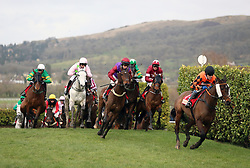 Runners and riders including eventual winner Tiger Roll ridden by Keith Donoghue (second right) during the Glenfarclas Chase on Ladies Day of the 2019 Cheltenham Festival at Cheltenham Racecourse.