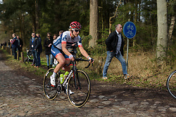 Allie Dragoo approaches the end of the first cobbled sector at Ronde van Drenthe 2017. A 152 km road race on March 11th 2017, starting and finishing in Hoogeveen, Netherlands. (Photo by Sean Robinson/Velofocus)