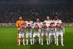 December 13, 2018 - Piraeus, Attiki, Greece - Commemorative photo of players of Olympiacos, before the start of the match. (Credit Image: © Dimitrios Karvountzis/Pacific Press via ZUMA Wire)