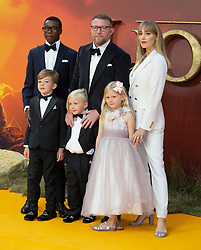 Guy Ritchie, Jacqui Ainsley, David Banda, Rafael Ritchie, Rivka Ritchie and Levi Ritchie attend The Lion King premiere in London.<br /><br />15 July 2019.<br /><br />Please byline: Vantagenews.com<br /><br />UK clients should be aware children's faces may need pixelating.