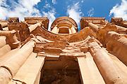 Detail of the The Monastery (Al Deir) facade in Petra, Jordan.